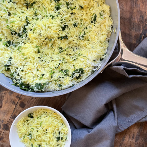 Lemon garlic basmati rice